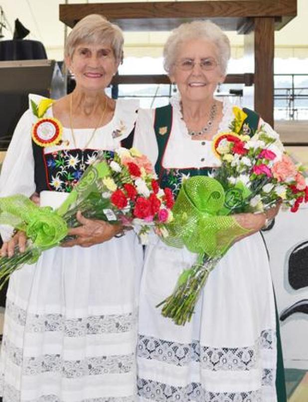 HONORED: Dot Leger, left, and Josie Thevis were honored by the Roberts Cove Germanfest Association, each recognized for her long record of service to the festival and to the Germanfest Heritage Museum. (Acadian-Tribune photo by Josie Henry)